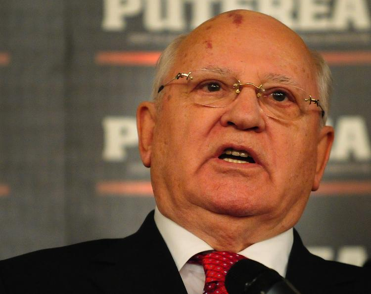 Mikhail Gorbachev delivers a speech during a press conference with Romanian media in Bucharest on April 14, 2010. (Daniel Mihailescu/AFP/Getty Images)