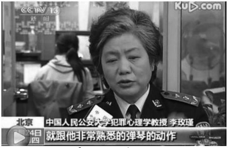 OFFICIAL ANALYSIS: Screen shot of Li Meijin, Professor of Criminal Psychology at the Chinese People's Public Security University, being interviewed by CCTV. The subtitles read: 'Just like the movements playing the piano that he was so familiar with,' referring to the stabbing of Zhang Miao. (The Epoch Times)