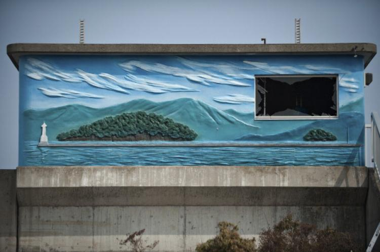 A mural depicting the sea is seen in the tsunami-damaged city of Yamada, in Iwate prefecture on March 25, 2011. (Nicolas Asfouri/AFP/Getty Images)