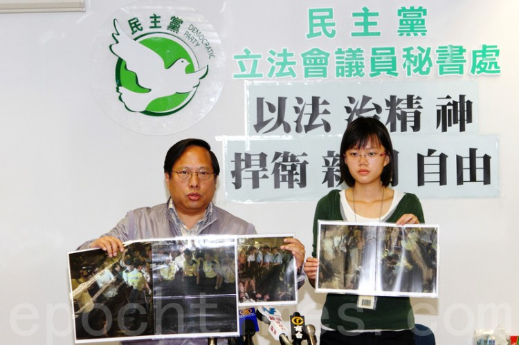 Reporter Kiri Choy (right) sued Hong Kong Police for illegally arresting her. (Pan Zaishu/The Epoch Times)