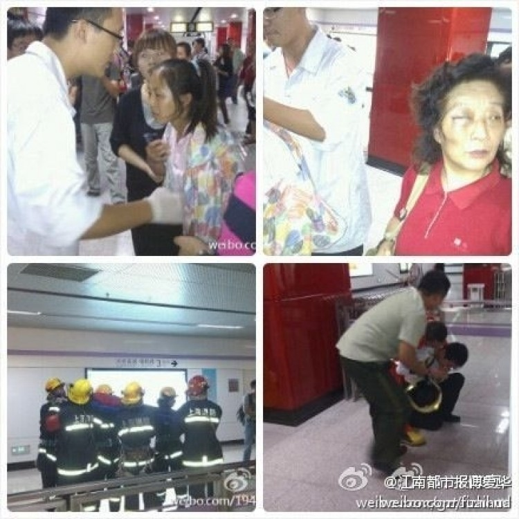 Accident scene of Metro Line 10 on the Shanghai subway, where a train slammed into the rear of another on Sept. 27.  (Weibo.com)