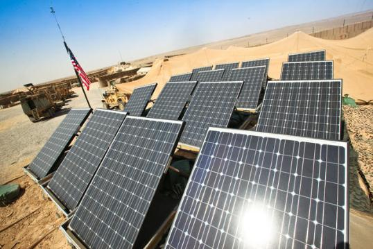 Solar panels sit atop dirt-filled barriers Sept. 30, 2011, at Patrol Base Boldak