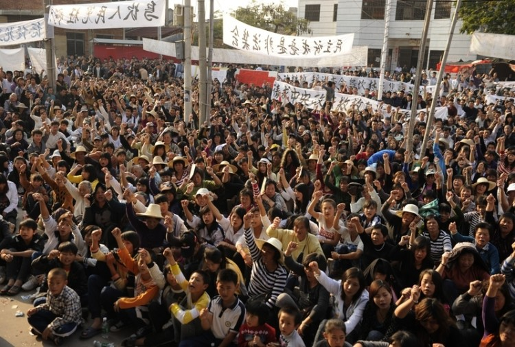 Wukan residents rally