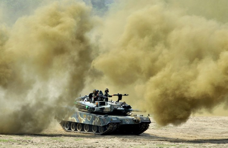 A South Korea's K1 tank moves through smoke during a joint military drill between South Korea and the US in Paju near the inter-Korean border on June 8, 2011. (Jung Yeon-Je/AFP/Getty Images)