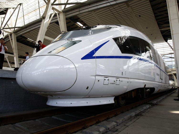 A high-speed train prepares to leave the railway station in Beijing for a trial run to Shanghai on June 27, 2011. (STR/AFP/Getty Images)