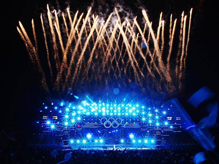 The Olympics Opening Ceremony fireworks display were, in part, computer-generated special effects.  (Clive Mason/Getty Images)
