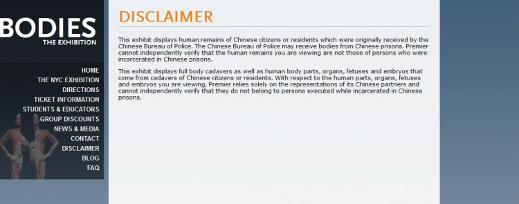 disclaimer posted on the website of one of the plastination