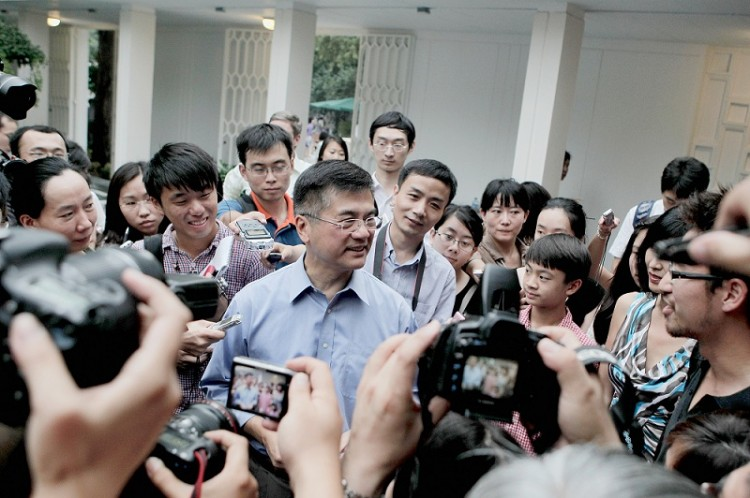 New U.S. Ambassador to China, Gary Locke addresses the media in the courtyard of his residence on Aug. 14, 2011 in Beijing, China. (Lintao Zhang/Getty Images)