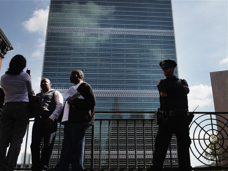 A heavy police presence is stationed outside of the United Nations as world leaders arrive in New York, for the start of the UN General Assembly on Sept. 19, 2011, in New York City. (Spencer Platt/Getty Images)
