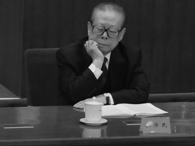 Jiang Zemin (L) at the Great Hall of the People on Oct. 9, 2011