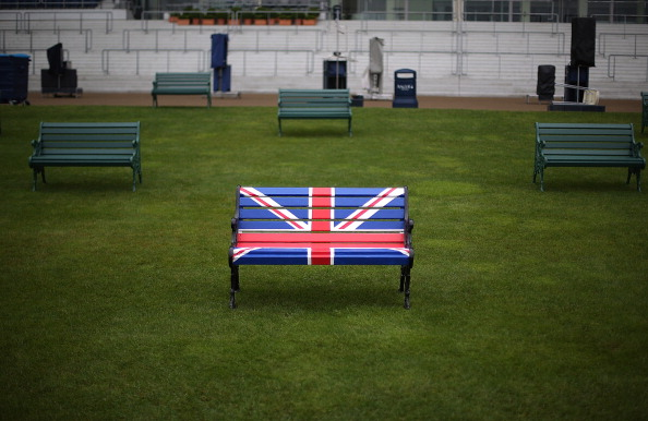 A bench is decorated with a Union Jack flag, Ascot, UK