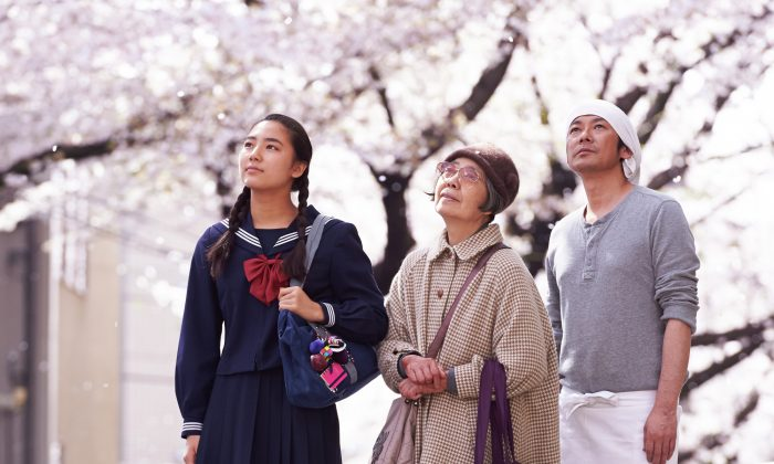 """(L-R) Kyara Uchida, Kirin Kiki, and Masatoshi Nagase play a student, elderly woman, and cook whose lives are entwined through a Japanese confectionary in """"An."""" (Courtesy of TIFF)"""