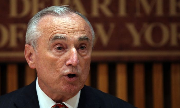 NYPD Commissioner William J. Bratton at a news conference on the mistaken arrest of James Blake, a retired top-10 professional tennis player, in New York City, on Sept. 10, 2015. (Spencer Platt/Getty Images)