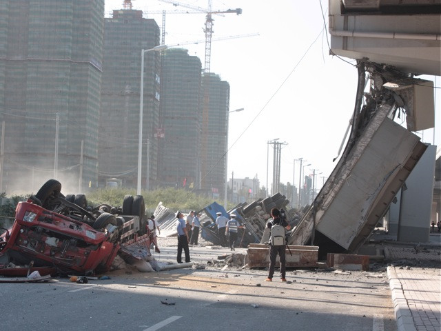a collapsed eight-lane suspension bridge in Harbin