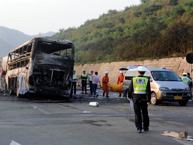 a burnt out double-decker sleeper bus