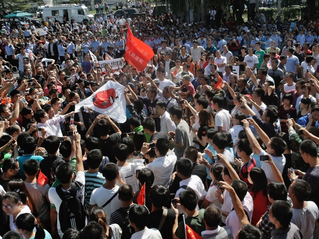 Chinese protestors stage an anti Japan rally