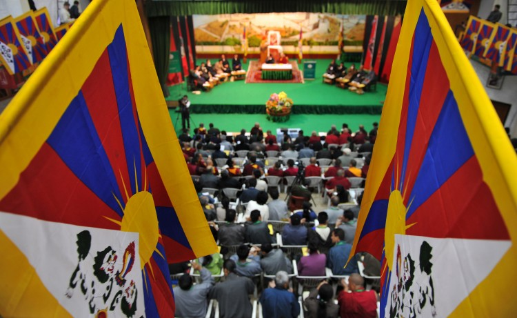 Tibetan representatives take part in the Second Special General meeting of Tibetans in Dharamshala on September 25, 2012.  (Manjunath Kiran/AFP/GettyImages)