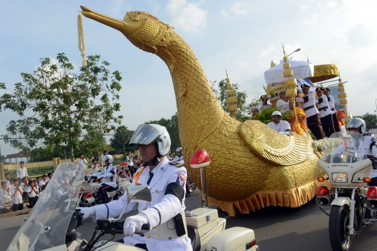 coffin of the late former king Norodom Sihanouk