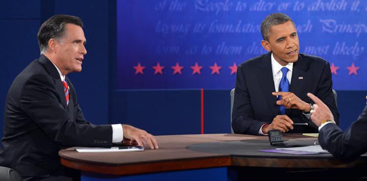 U.S. President Barack Obama (2nd-R) and Republican presidential candidate Mitt Romney