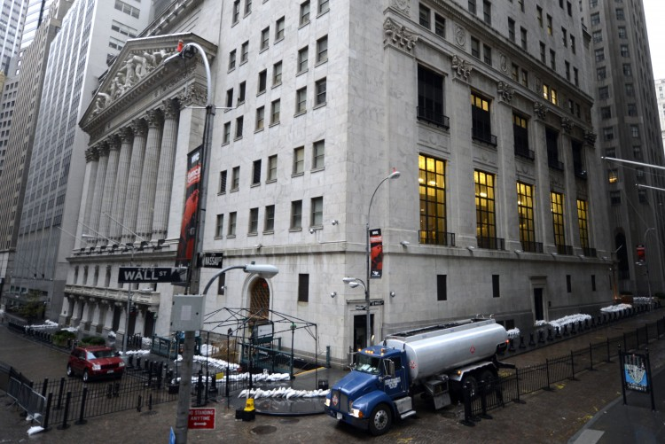 The New York Stock Exchange on Oct. 30, as New Yorkers clean up the morning after Hurricane Sandy made landfall. (TIMOTHY A. CLARY/AFP/Getty Images)