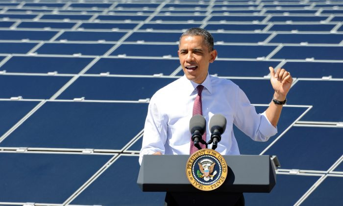 U.S. President Barack Obama speaks at Sempra U.S. Gas & Power's Copper Mountain Solar 1 facility, the largest photovoltaic solar plant in the United States, in Boulder City, Nev., on March 21, 2012. (Ethan Miller/Getty Images)
