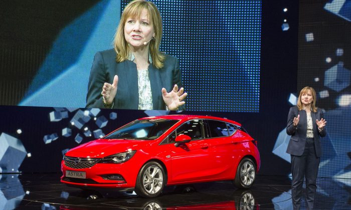 General Motors CEO Mary T Barra presents the new Opel Astra at the 66th IAA auto show in Frankfurt am Main, western Germany, on Tuesday, Sept. 15, 2015. (ODD ANDERSEN/AFP/Getty Images)