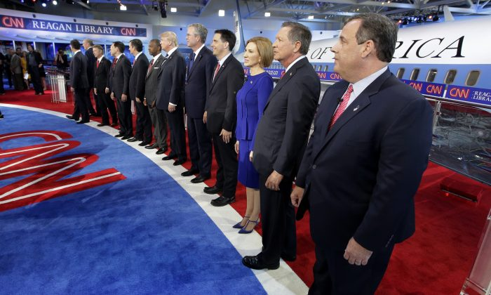 Republican presidential candidates take the stage during the CNN Republican presidential debate at the Ronald Reagan Presidential Library and Museum, in Simi Valley, Calif., on Sept. 16, 2015. (Chris Carlson/AP)