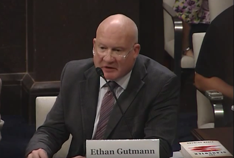 Author Ethan Gutmann attends a Congressional-Executive Commission on China hearing on Sept. 18, 2015. (Screen shot/Youtube.com)