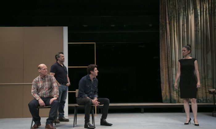 (L–R) Jim Fletcher, Brian Mendes, Gary Wilmes, and Troy Vazquez on a nearly bare set that captures the emptiness of their characters' souls. (Gerry Goodstein)