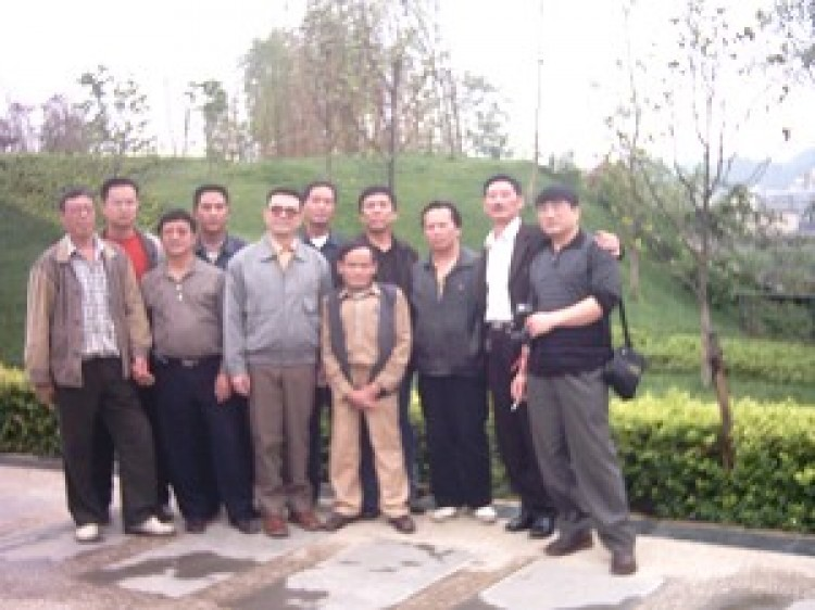 Democratic activists in Guizhou celebrate Chen Xi's release on May 26, 2005. Chen is shown on the front row, third from the left. (Photo provided by Mr. Huang Yanming)