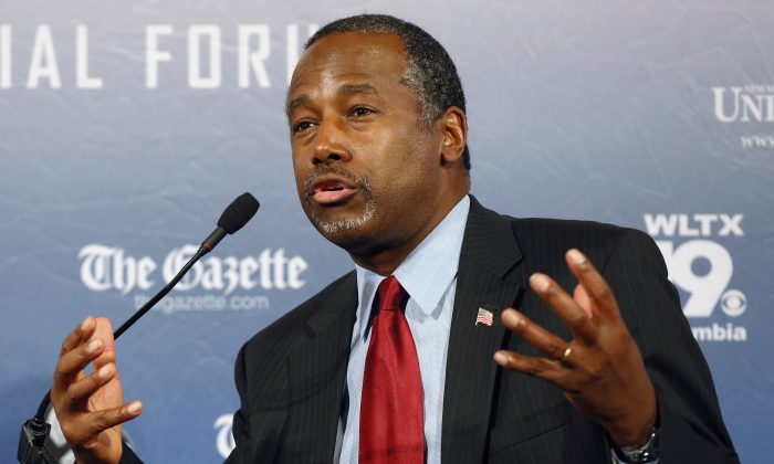 """FILE - In this Monday, Aug. 3, 2015, file photo, Republican presidential candidate and retired neurosurgeon Ben Carson speaks during a forum, in Manchester, N.H. Responding to a question during an interview broadcast Sunday, Sept. 20, 2015, on NBC's """"Meet the Press,"""" Carson, a devout Christian, said Islam is antithetical to the Constitution and he doesn't believe that a Muslim should be elected president. (AP Photo/Jim Cole, File)"""