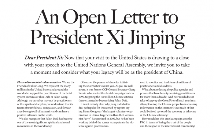 The Friends of Falun Gong open letter to Xi Jinping was printed on page A9 of The New York Times on Sept. 28. (Friends of Falun Gong)