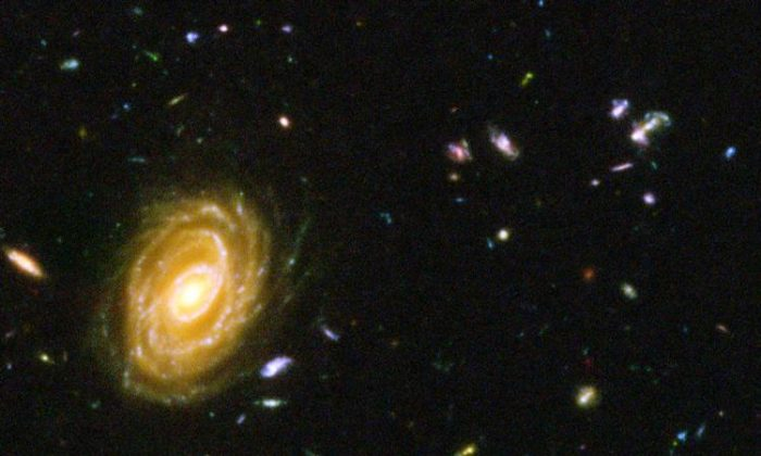A Hubble composite photograph of a million one-second exposures, revealing galaxies from the time shortly after the Big Bang.  (NASA/Getty Images)