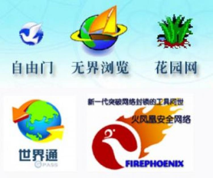 The symbols of anti-internet censorship software developed by Global Internet Freedom Consortium.  (The Epoch Times)