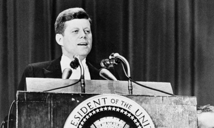 File photo of former President John F. Kennedy during a speech at the Waldorf Astoria hotel in New York City, April 27, 1961. The current Democratic Party is very different to the one led by Kennedy. (Getty Images)