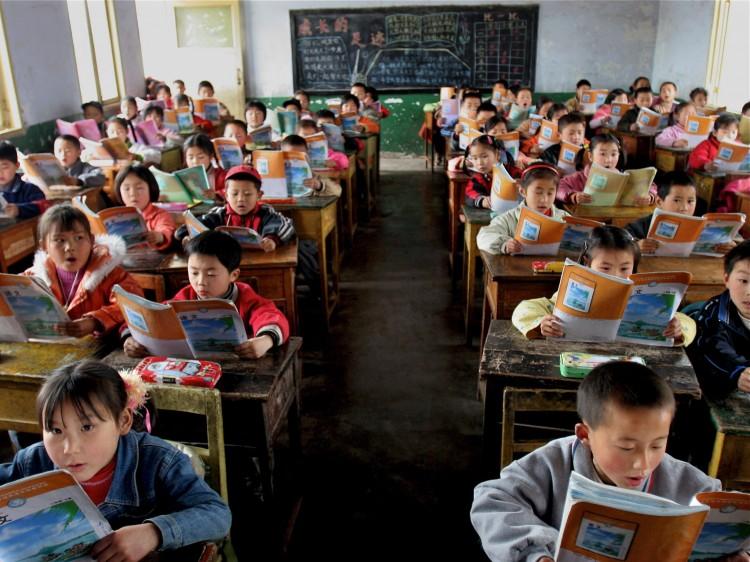an elementary school class reads
