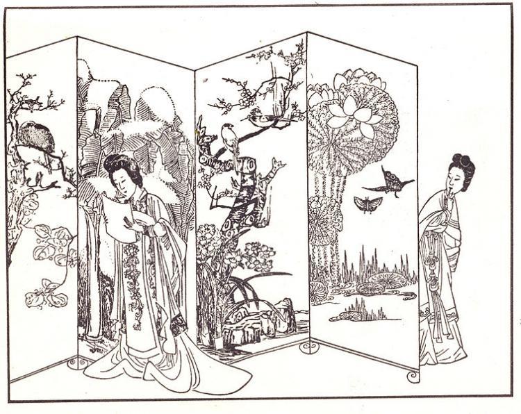 Woodcut illustration of a scene from Xi Xiang Ji (Wikipedia)