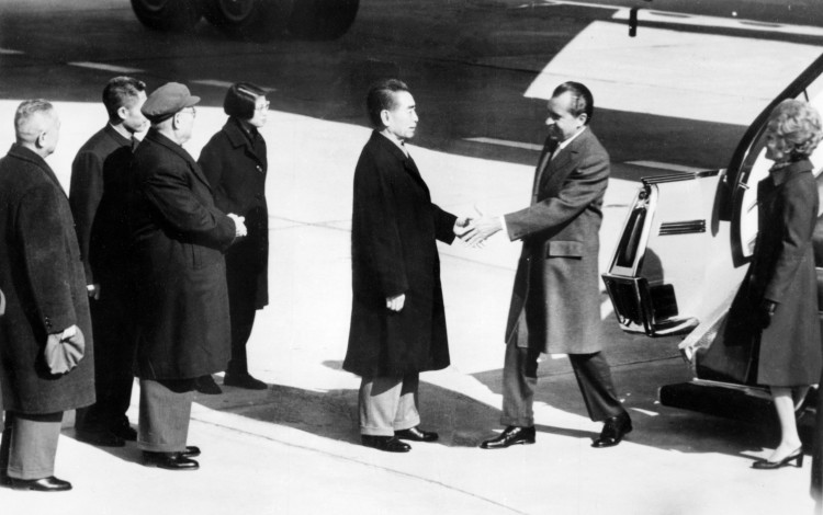 Chinese Premier Zhou Enlai welcomes U.S. President Richard Nixon