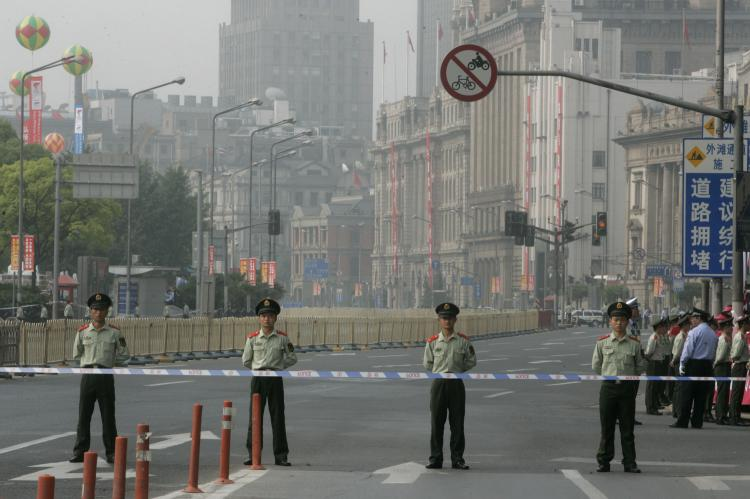 Shanghai has entered a state of semi-martial law as Olympics approach. (China Photos/Getty Images)