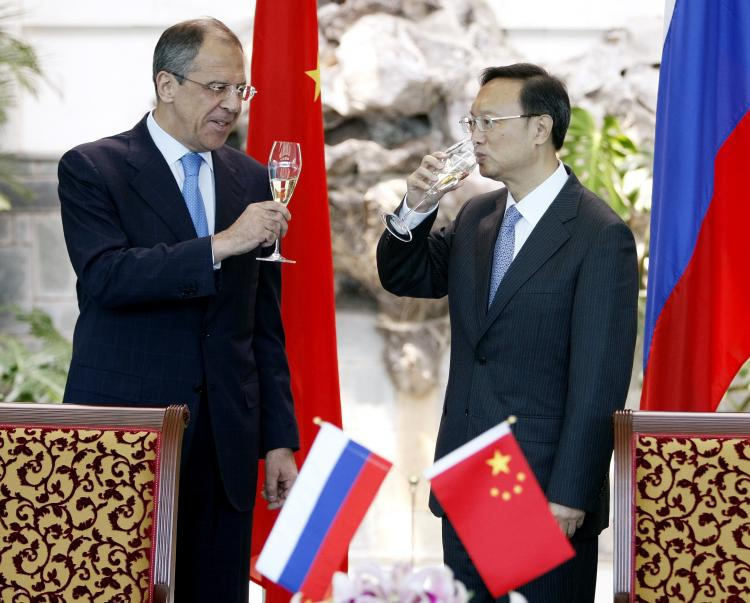 Russian Foreign Minister Sergei Lavrov, left, with Chinese Foreign Minister Yang Jiechi after they signed documents on a border agreement on July 21, 2008 in Beijing, China.  (Andy Wong/Getty Images)