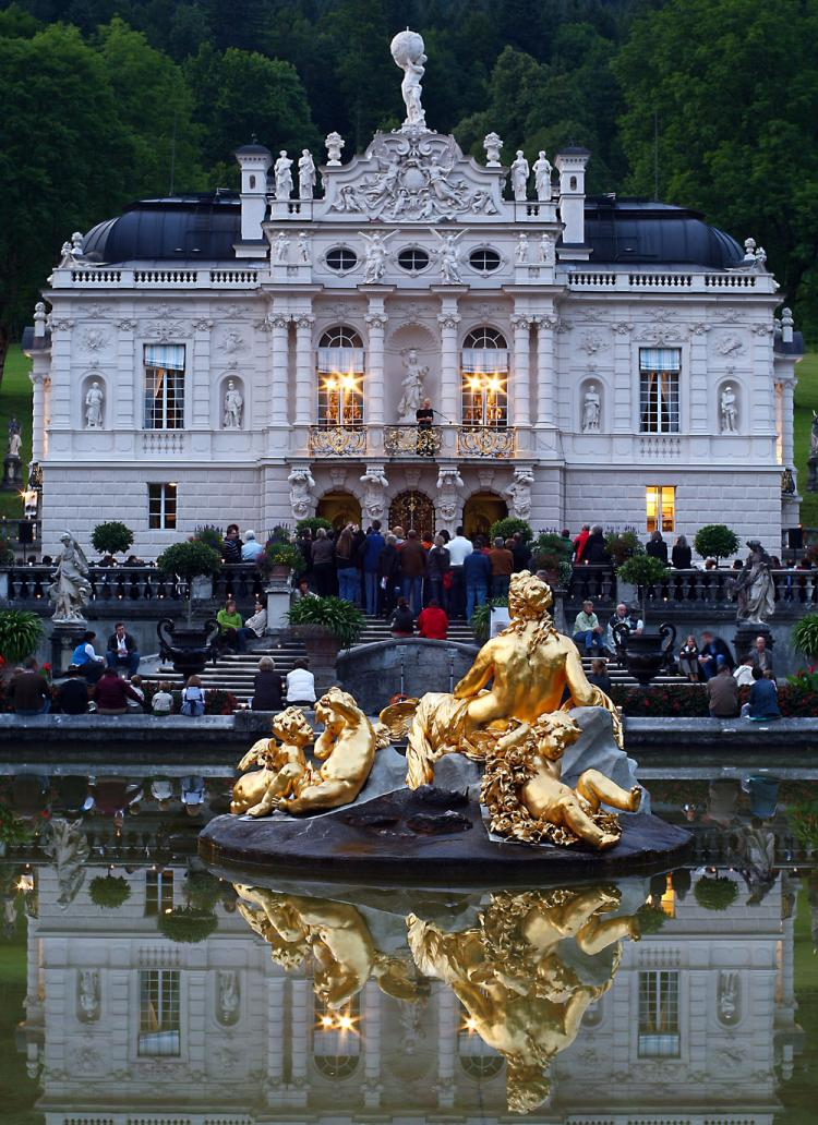 TRAVEL DRAW: General outside view of Linderhof Castle, seen ahead of a nighttime opening in this file photo in Linderhof, Germany. Germany ranked second overall in the rankings of 139 countries according to a World Economic Forum report. (Johannes Simon/Getty Images)