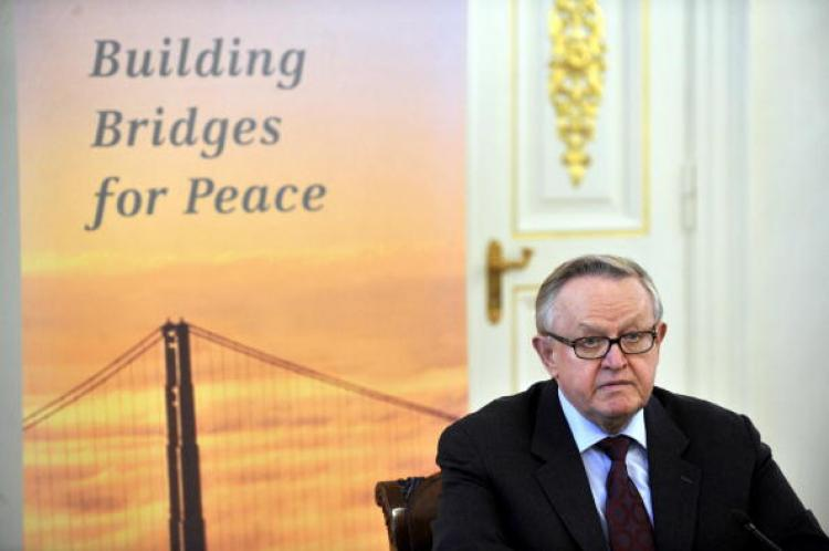 Former Finnish President Martti Ahtisaari won the Nobel Peace Prize on October 10, 2008.  (Markku Ulander/AFP/Getty Images)