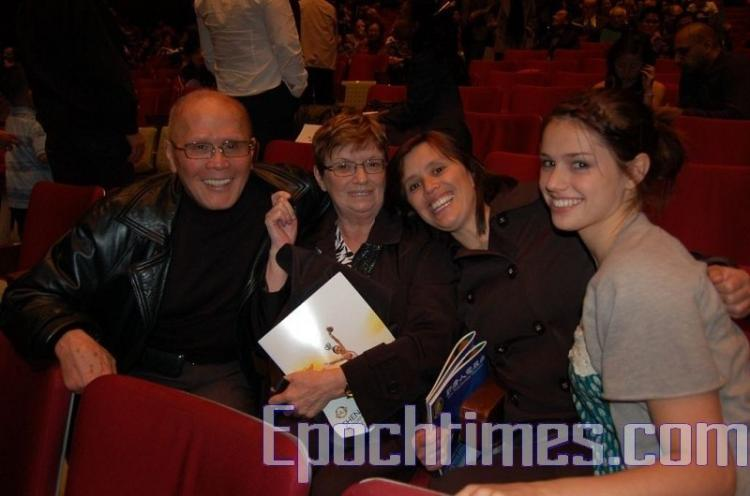 L to R: Mr. Cheng, Mrs. Cheng, Mrs. Germain, and Emma Germain, at the Shen Yun Performing Arts show on Tuesday (NTDTV)
