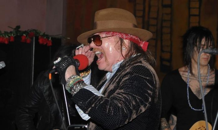 Axl Rose of Guns N' Roses performs Live At Nur Khan's Rose Bar Sessions presented by DeLeon Tequila at Gramercy Park Hotel in New York City, on Feb. 14, 2010.  (Jamie McCarthy/Getty Images )
