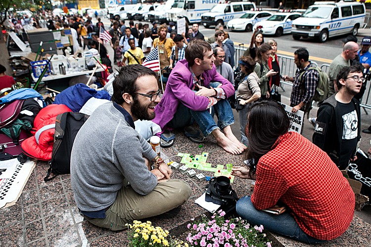 Occupy Wall Street protesters make their home at Zuccotti Park in the Financial District in New York City. The protesters have stayed at the park since Sept. 17. (AMAL CHEN/THE EPOCH TIMES)