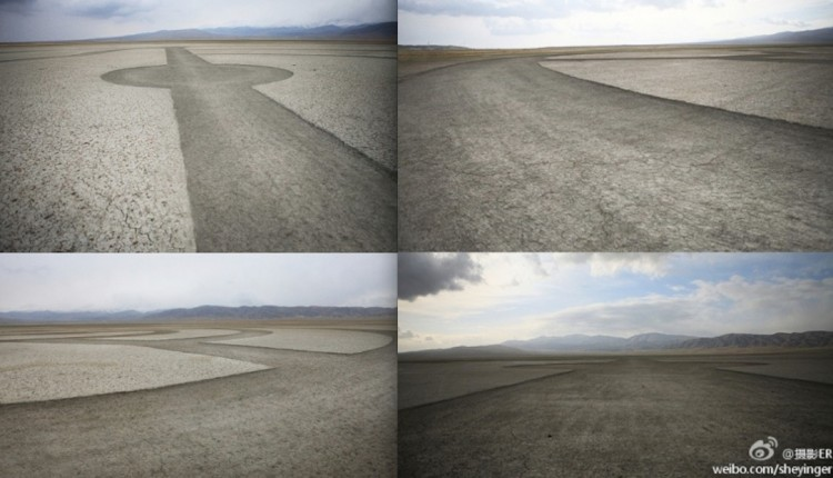 BMWs viral marketing in China: the original pictures from Weibo show strange circles in the desert. (Weibo.com)