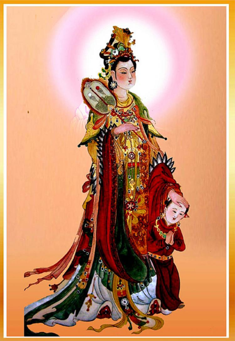 Bodhisattva Avalokitesvara, 'the goddess of mercy', pictured with a small servant. (Courtesy of zhengjian.org)