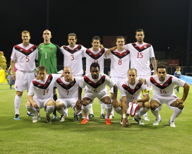 Canada's men's national soccer team poses prior to taking on Puerto Rico on Tuesday. (Canada Soccer)