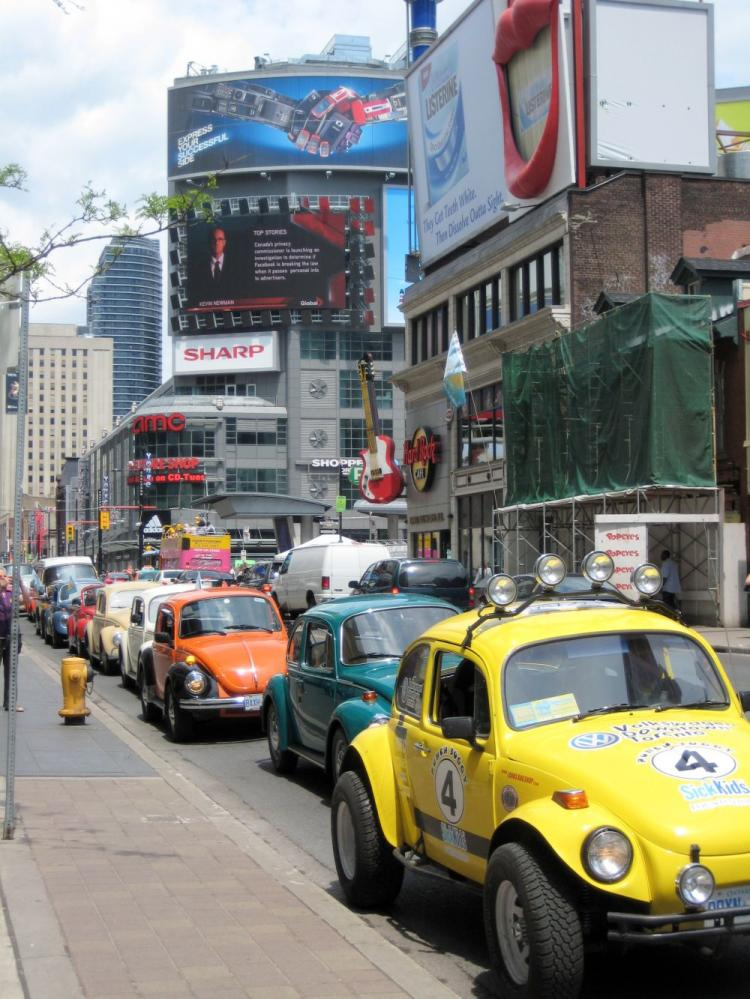 Through its '2008 Toronto Volkswagen Beetle Invasion' on Yonge St. in Toronto, volunteers at Punch Buggy 4 SickKids raised $12,250 for the Hospital for Sick Children. (Jeannette K. Petty)