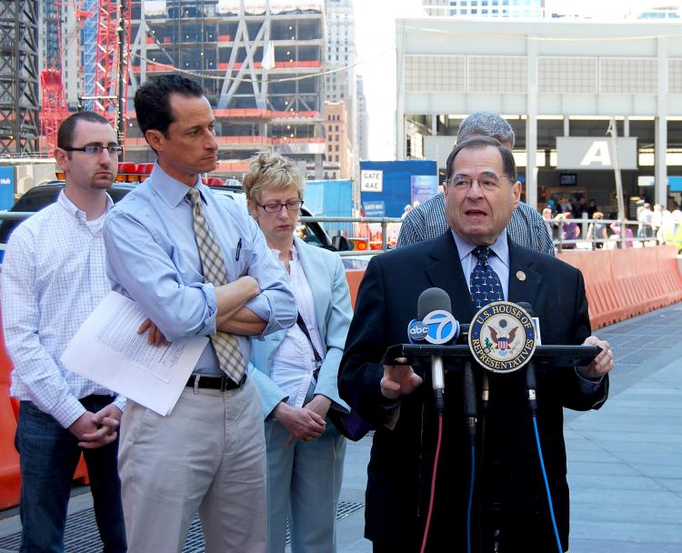 REROUTING THE REWARD: Reps. Anthony Weiner (L) and Jerrold Nadler (C), co-author and sponsor of the Zadroga 9/11 Health and Compensation Act, presented proposed legislation that would make organizations such as John Feal's (R) Feal Good Foundation eligible for the Osama bin Laden bounty money.  (Catherine Yang/The Epoch Times )